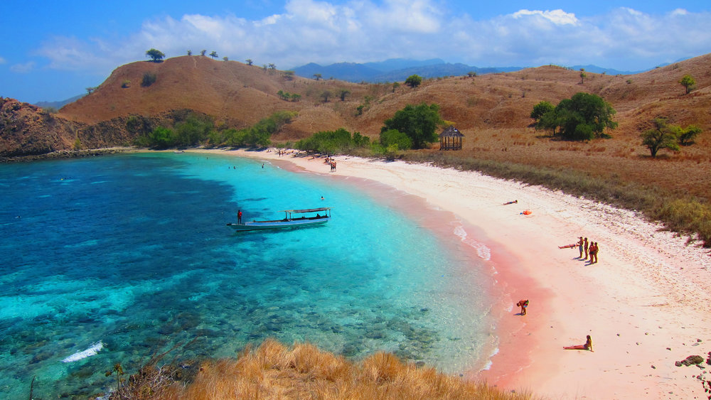 The pink beach being a popular area is visited by many tourists every day