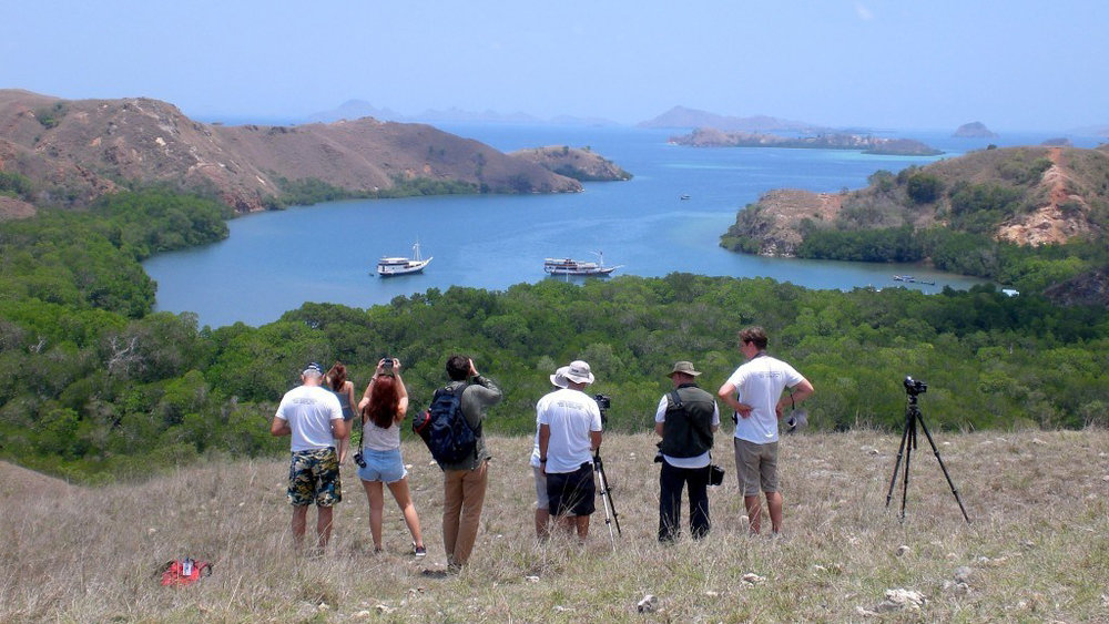 Several tourists are taking a picture of Rinca Island area