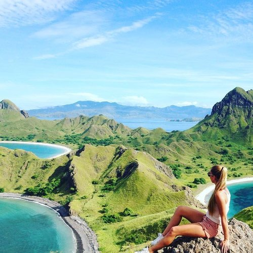 Sitting on the top of the hills in Padar Island