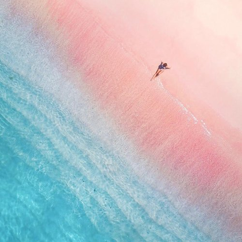 The sky view of Pink Beach
