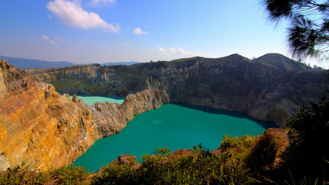 The crater of the mountain in Kelimutu is the place of the magical lake