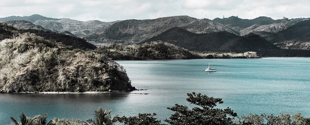 A boat is sailing in the Komodo National Park