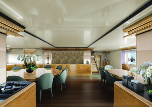 Great place for eating in Aqua Blu liveaboard dining room | Hello Flores