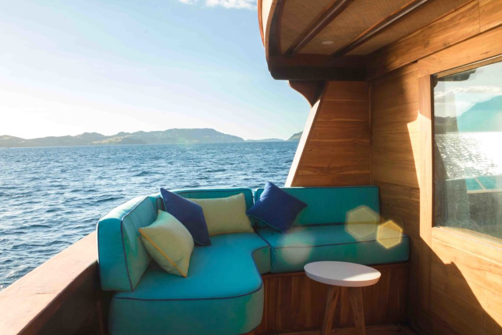 The balcony lounge from master cabin in Magia 2 liveaboard | Hello Flores