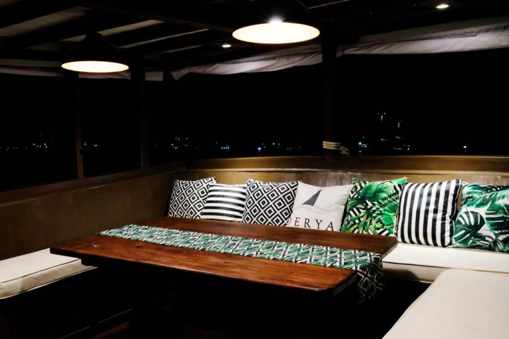 The indoor dining room in Derya liveaboard   Hello Flores