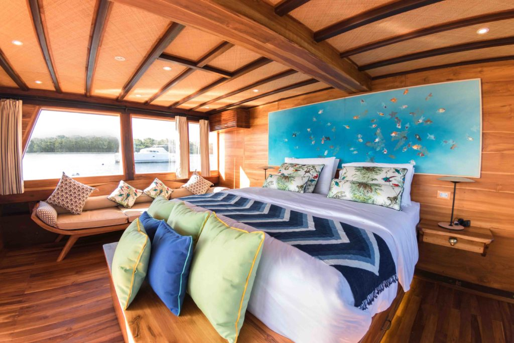A cabin in Magia 2 Liveaboard with huge aquarium | Hello Flores